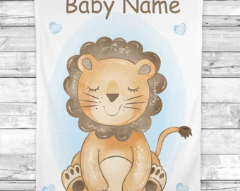 Lion Baby Blanket, Personalized Baby Boy Blanket, Newborn Baby Shower Gift Minky Blanket Fleece Blanket Sherpa Baby Blanket