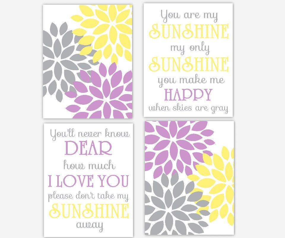 My Baby Girl S Nursery: Baby Girl Nursery Art Purple Yellow Dahlia Mums You Are My