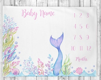 Mermaid Tail Baby Blanket, Personalized Milestone Blanket, Monthly Milestone Blanket, Baby Shower Gift, Baby Girl Blanket,  Nursery Decor