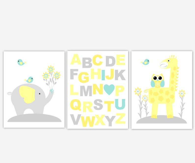 Baby Nursery Wall Art Yellow Teal Aqua ABC Elephant Giraffe I Love You Baby  Girl Baby Boy Nursery Decor Safari Jungle Animals Prints