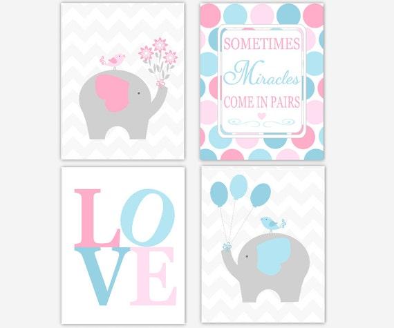 Twins Baby Nursery Decor Pink Blue Elephants Sometimes Etsy