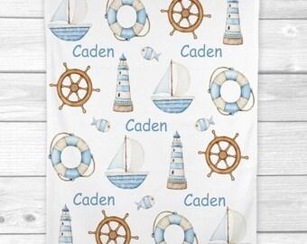 Nautical Baby Blanket, Personalized Baby Boy Blanket, Newborn Baby Shower Gift Minky Blanket Fleece Blanket Sherpa Baby Blanket