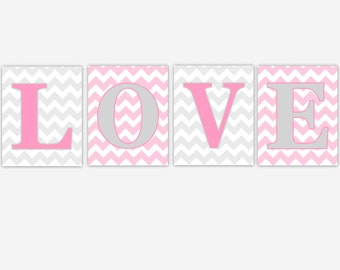 Baby Girl Nursery Art Pink Gray LOVE Chevron Baby Girl Art Baby Nursery Decor Girls Room Wall Art Baby Nursery Decor CHOOSE COLORS
