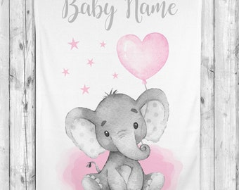 Personalized Baby Girl Blanket Pink Elephant Baby Blanket Newborn Baby Shower Gift Minky Blanket Fleece Blanket Sherpa Baby Blanket