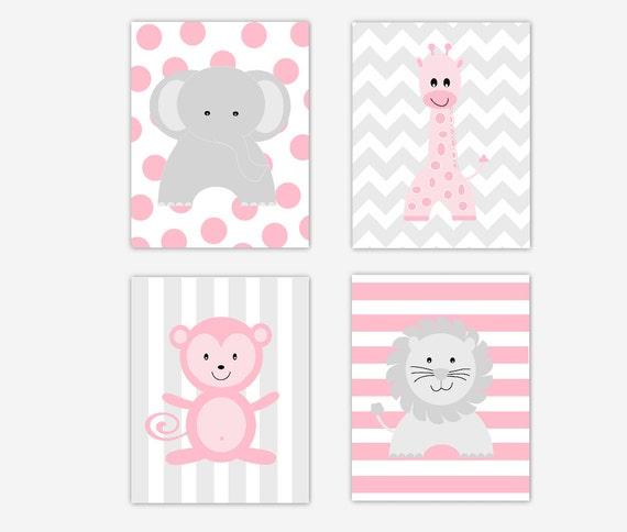Bebé vivero arte rosa gris elefante jirafa mono Safari