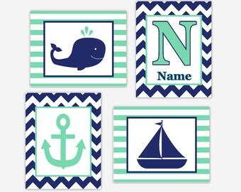 Nautical Baby Boy Nursery Art Whale Navy Blue Mint Boat Anchor Sailboat Personalized Baby Nursery Decor Boy Bath Art CHOOSE YOUR COLORS