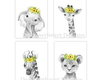 Safari Animals Baby Girl Nursery Wall Art Decor Yellow Sunflowers Floral Elephant Giraffe Lion Zebra