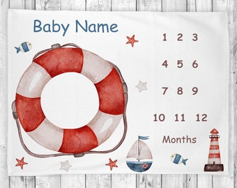 Baby Boy Milestone Blanket,Nautical Milestone Blanket, Monthly Milestone Blanket, Baby Shower Gift, Baby Girl Blanket, Nursery Decor
