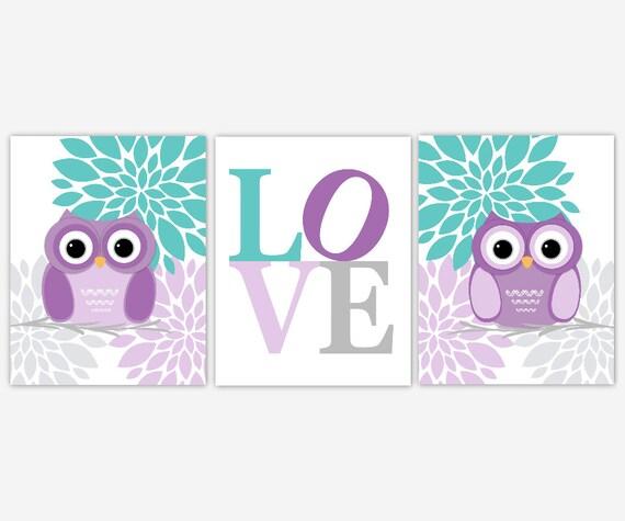 Owls Baby Girl Nursery Wall Art Purple Aqua Teal Floral Wall Art Canvas Prints Baby Owl Nursery Decor Girls Room Decor Baby Girl Art
