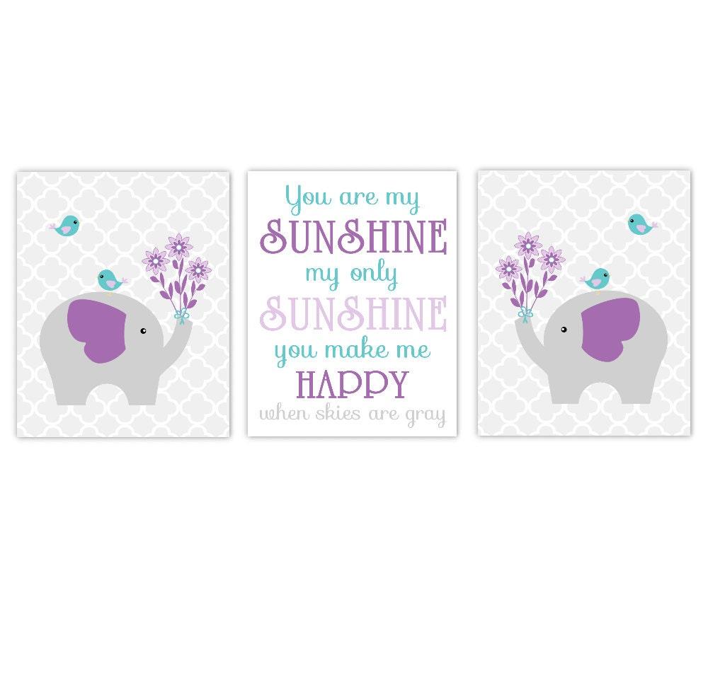 My Baby Girl S Nursery: Baby Girl Nursery Art Purple Aqua Teal Elephants You Are