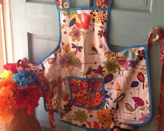 Handsewn Apron Bright Floral Print