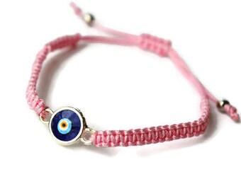 b2458edf4d72 Evil eye bracelet - Pink string bracelet - Pink evil eye jewelry -  adjustable bracelet - evil eye charm - Turkish nazar - Macreme Bracelet
