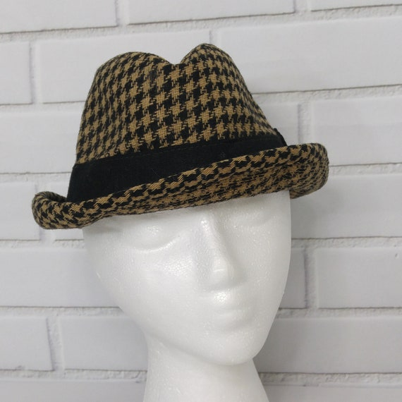 Vintage Wool Houndstooth Fedora Hat 7 1 4 Brown USA Made  19d2518a2010