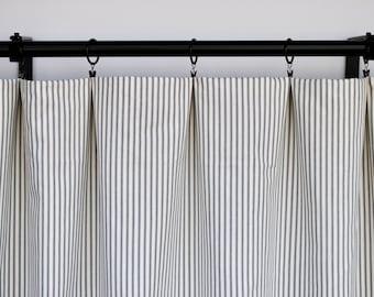 Magnolia Curtains Striped Charcoal Curtain 2 Panels Home Decor Dark Grey