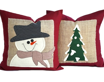 one snowman and one christmas tree pillow cover holiday pillow decorative pillow cushion christmas decoration