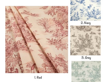 Covington Toile Curtain Panels, Pastorale Toile Duck Curtains, Dark Red Sage Navy Blue Grey Charcoal Curtain Panels