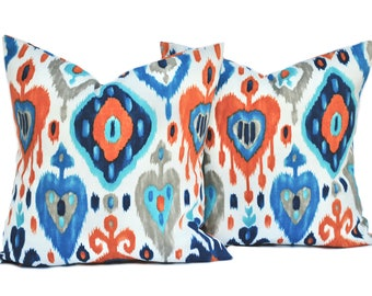 Two Ikat pillow covers, Outdoor Pillow, decorative throw pillow, decorative pillow, accent pillow, pillow case, DIFFERENT SIZES AVAILABLE