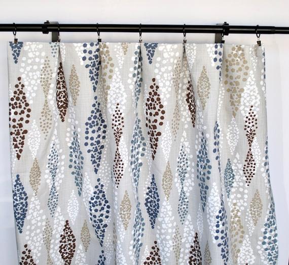 Navy Tan Brown Curtains Blue Curtain 2, Tan And Brown Curtains