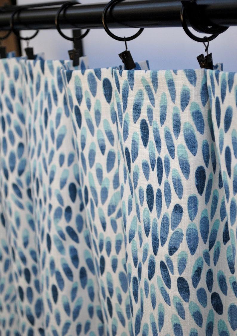 2 Curtain Panels Home Decor Premier Prints Curtain Blue Curtains Dotted Curtains Aqua blue Curtain