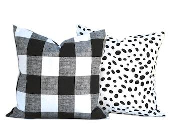 Two Black pillow covers, decorative throw pillow, decorative pillow, accent pillow, Black Throw Pillow, Plaid Pillow, polka dot Pillow