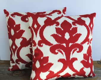 One Red indoor/outdoor ikat pillow cover, cushion,decorative throw pillow, decorative pillow, accent pillow, pillow