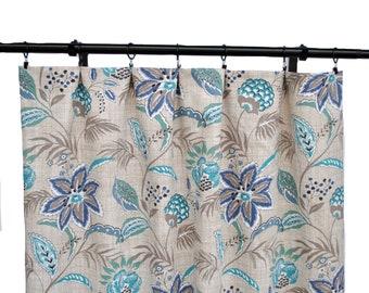 Magnolia Curtains, Floral, Tan Curtain,  2 Curtain Panels, Curtains, Home Decor, Blue floral Curtains