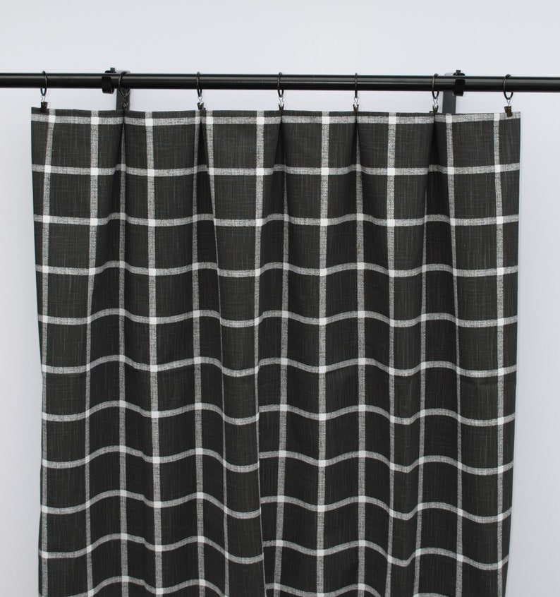 Black and white checkered Curtains, Checkered Curtain, 2 Curtain Panels, on designer modern curtain design, white house windows design, white house paint design,
