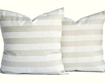 2 Premier prints pillow covers, cushion, decorative throw pillow, Tan pillow, accent pillow, Striped pillow, pillow case