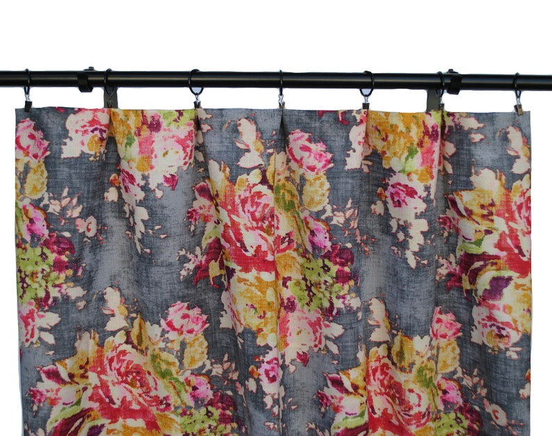 Floral Curtains Fabric As Seen On The Bachelor Grey Peach Pink Rose Floral Decorative Home Decor Curtain Panels