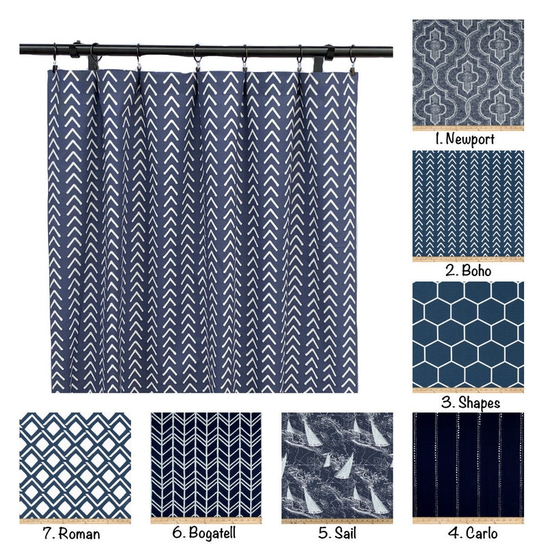 Navy Blue Curtains Yellow Curtain 2 Curtain Panels Etsy
