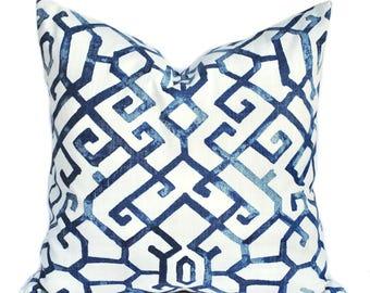 One blue pillow cover, Dark Blue Pillow, Navy decorative throw pillow, accent pillow, Geometric  pillow, pillow case