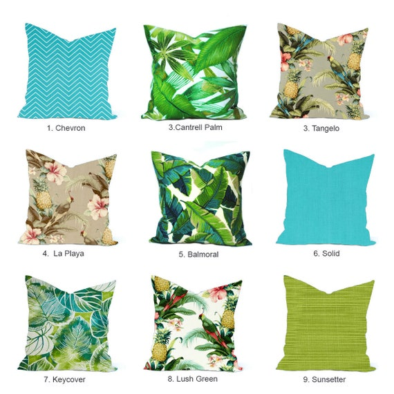 Tropical Outdoor Pillow Cover Blue Pillow Decorative Throw Etsy