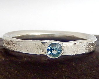 Sterling Silver textured Topaz ring