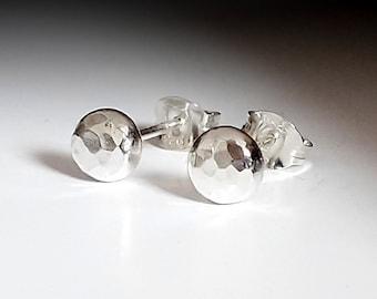 Handmade Silver Studs, hammered silver stud earrings, single or pair,4mm, 6mm or 8mm diameter, unisex silver earrings, in stock, handmade