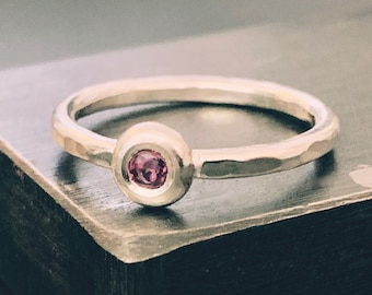 Silver ring, Garnet ring, Handmade recycled, Sterling silver, ring