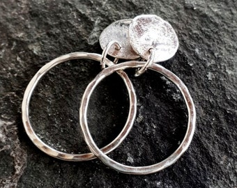 silver Stud hoop earrings, sterling silver hammered & textured earrings, handmade using silversmith techniques only made in the UK