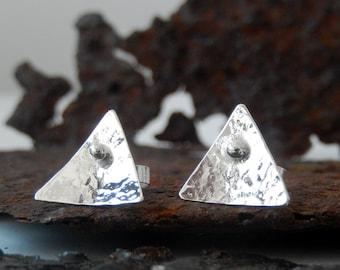 Silver stud earrings, Silver triangle stud earrings, handmade in my work studio