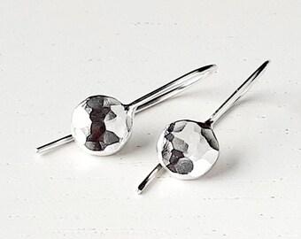 Silver drop earrings, drop earrings, silver earrings, hammered earrings, silver dangle earrings, handmade silver, earrings, drop earring
