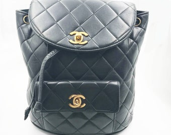 6b0a35f80e03 Chanel Vintage Classic Black Double Turnlock Backpack Bag