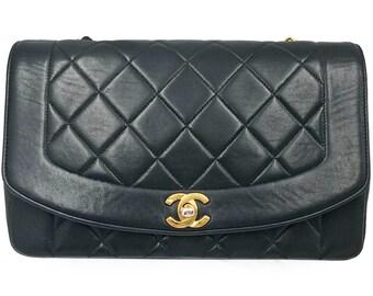 f3e7a9d778f7 Chanel Vintage Classic Black Lambskin Diana Single Flap Shoulder Bag