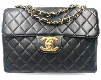 2a487aec53 Chanel Vintage Classic Timeless Jumbo Black Shoulder Bag
