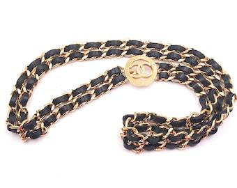 8cec34935 Chanel Vintage Gold Plated CC Medallion Double Leather Chain Necklace Belt