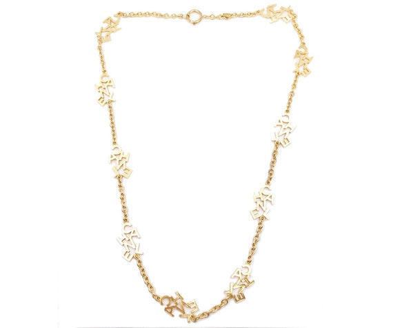 Chanel Gold Plated C H A N E L Long Necklace As Seen On Miley Etsy