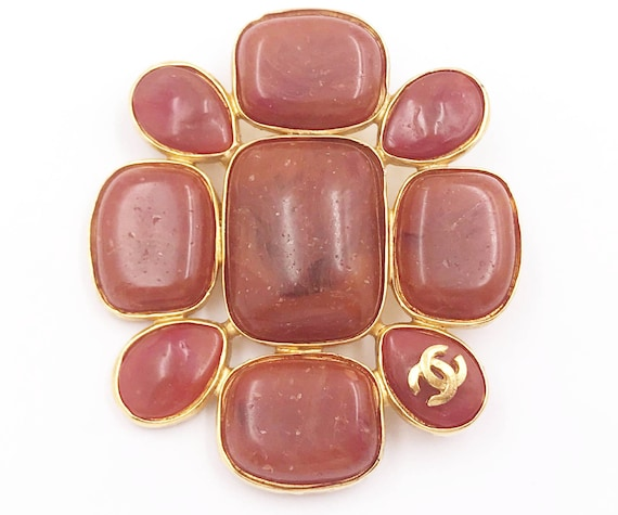 Chanel Vintage Gold Plated CC Red Brick Stone Larg