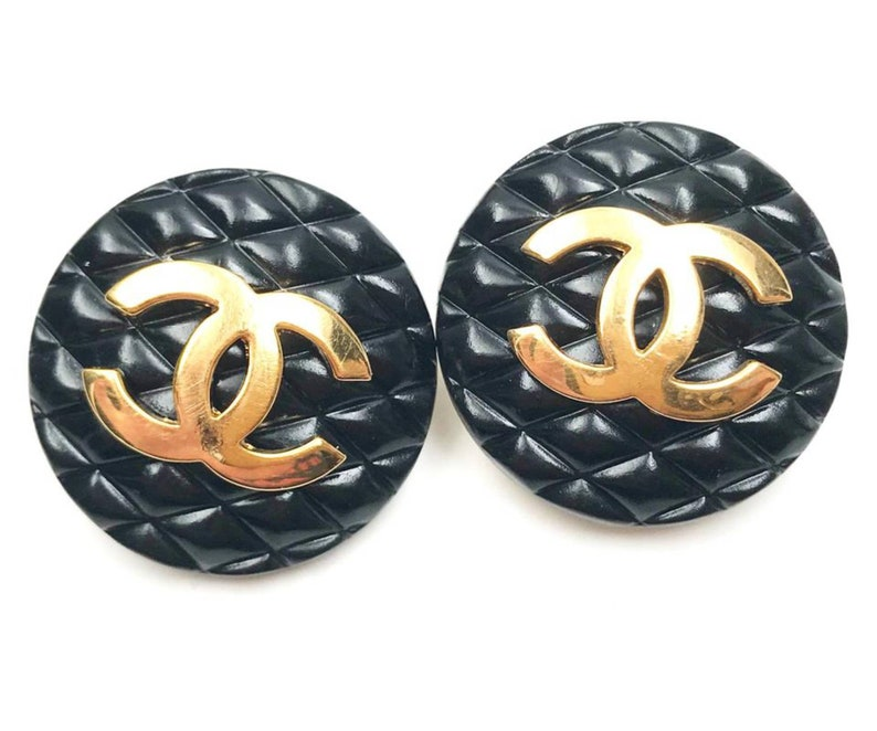 6832ba233d46 Chanel Vintage Gold Plated CC Black Quilted Clip on Earrings   Etsy
