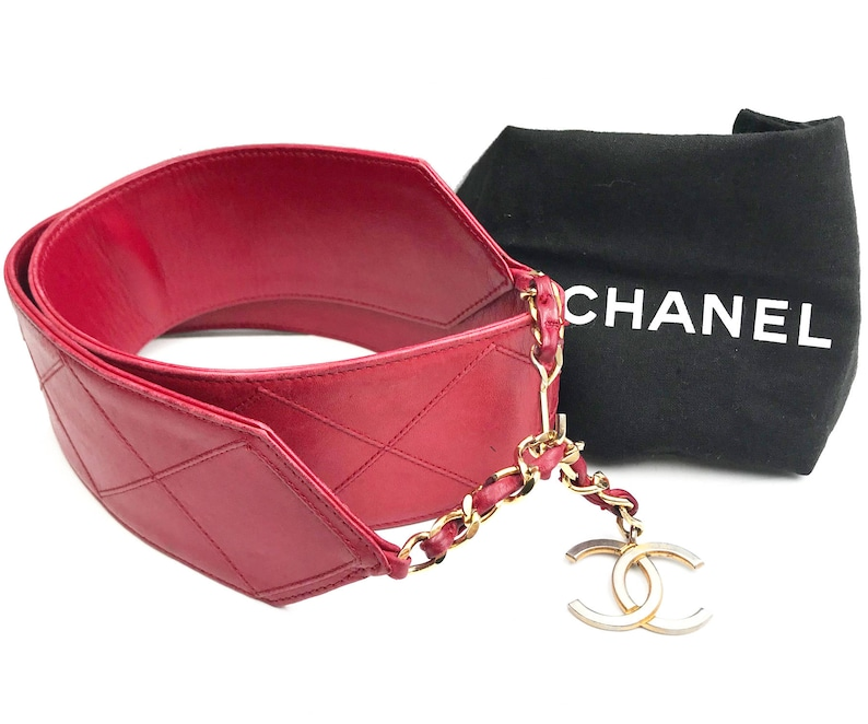 f451c184 Chanel Vintage Red Quilted Thick Waist Belt