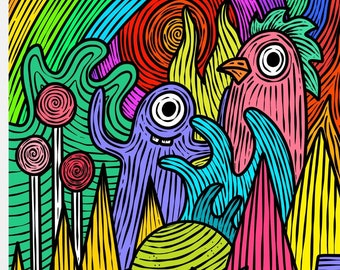 Mixed doodle art print A4 A5, Modern art print, funky art prints, animals, graffiti, wall art, gallery wall, colourful modern art prints