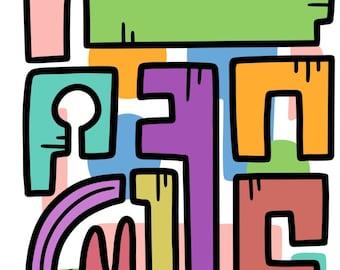 Abstract doodle art print A4 A5, Modern art print, funky art prints, graffiti, wall art, gallery wall, colourful modern art prints