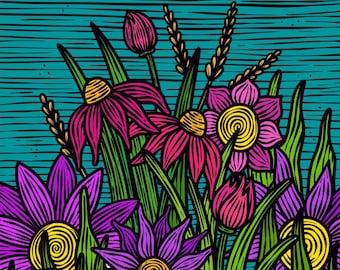 Floral doodle art print A4 A5, Modern art print, funky art prints, flowers, graffiti, wall art, gallery wall, colourful modern art prints