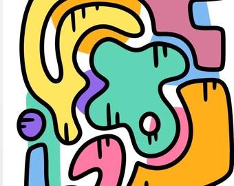 Abstract doodle art print A4 A5, Modern art print, funky art prints, animals, graffiti, wall art, gallery wall, colourful modern art prints